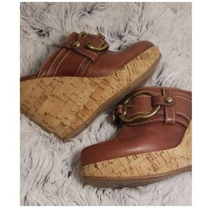 Lucky Brand Brown Leather Wedges Size 6.